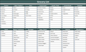 shopping list template coles