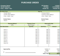 purchase order spreadsheet